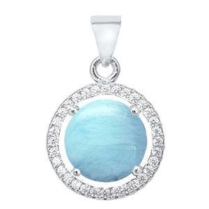 natural larimar and cubic zirconia halo pendant